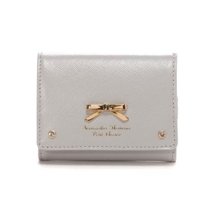 サマンサタバサプチチョイス ダスティーシンプルリボン ミニ財布(グレー)