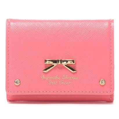 サマンサタバサプチチョイス エナメルシンプルリボン 3折ミニ財布(コーラルピンク)