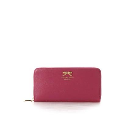 サマンサタバサプチチョイス フラワーリボンプレート(ラウンドジップ長財布) フューシャピンク