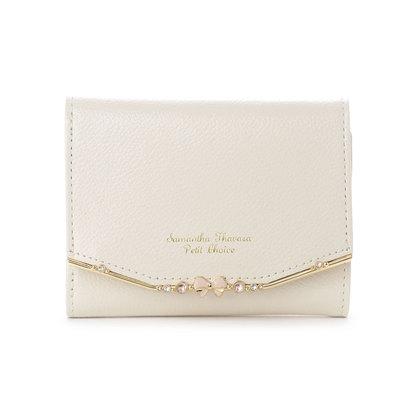 サマンサタバサプチチョイス リボンバー金具シリーズ折財布 ホワイト