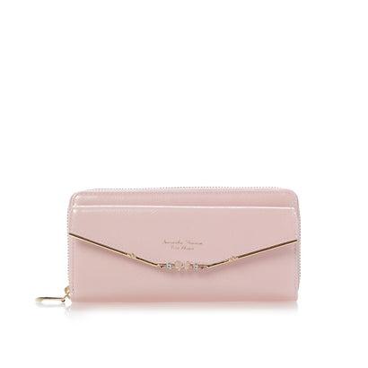 サマンサタバサプチチョイス リボンバー金具エナメルシリーズ(ラウンドジップ長財布) ピンク
