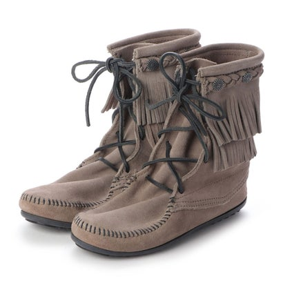 ミネトンカ Minnetonka DOUBLE FRINGE TRAMPER BOOT (グレー)