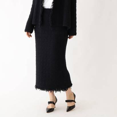 ドレステリア DRESSTERIOR ツイード風 ニットロングスカート (ブラック)
