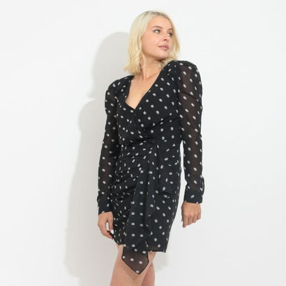 ゲス GUESS AMAL DRAPED DRESS (OUT OF FOCUS DOTS BLACK COMBO)