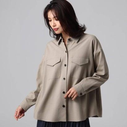 アンタイトル UNTITLED [L]【洗える】マットクロスベルトシャツジャケット (サンドベージュ)