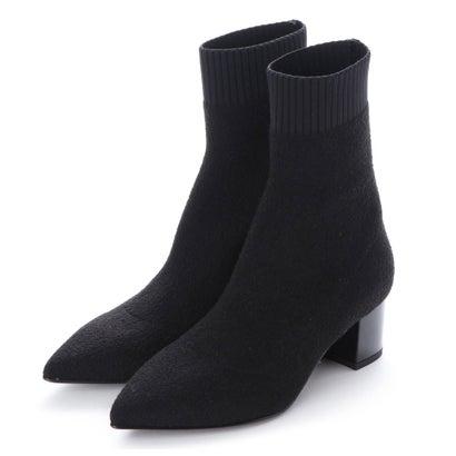ファビオルスコーニ Fabio Rusconi ポインテッドトウミドルヒールニットブーツ (ブラック雑材)