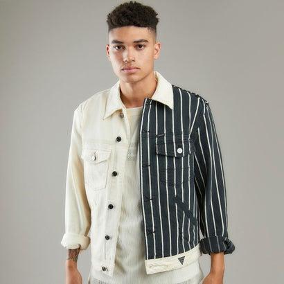 ゲス GUESS Dillon Half-Striped Denim Jacket (Color Block Wash)