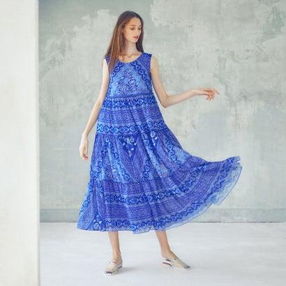 アウラアイラ AULA AILA バティックプリント ティアードドレス (ブルー)
