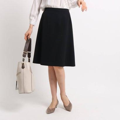 インディヴィ INDIVI 【マシンウォッシュ】ポリツイルフレアスカート (ブラック)
