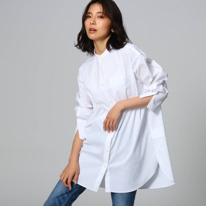 アンタイトル UNTITLED 【洗える】バンドカラーブロードシャツ (オフホワイト)