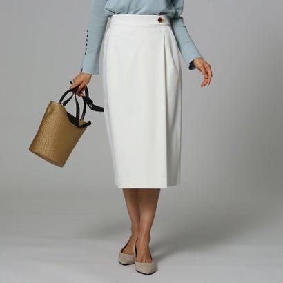 アンタイトル UNTITLED 【洗える】モダールストレッチサテンラップ風スカート (オフホワイト)