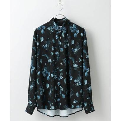 ティーケー タケオ キクチ tk.TAKEO KIKUCHI フラワーフェザーオーバーサイズシャツ (ブラック)
