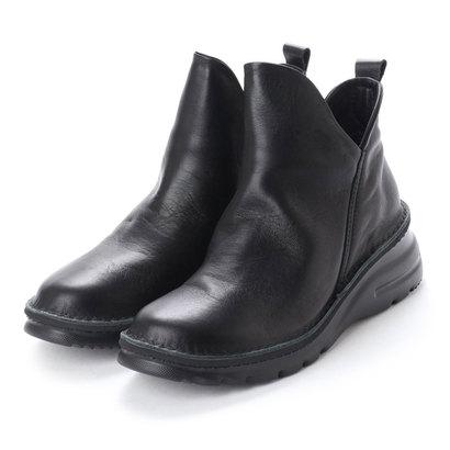 ジェイエスハートレーベル JS HEART LAVEL やわらかレザー軽量ショートブーツ (ブラック)
