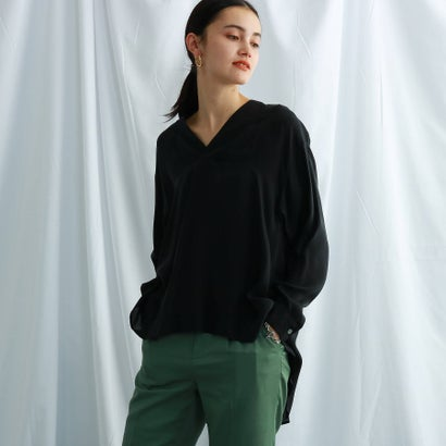 ジェット ニューヨーク JET NEWYORK Vネックデザインシャツブラウス (ブラック)