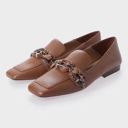 【2020 SUMMER】レザースネークプリント ステップバックローファー / Leather Snake Print Step-Back Loafers (Brown)