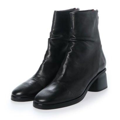 アルマネラ HALMANERA カラーヒールギャザーショートブーツ (ブラック)