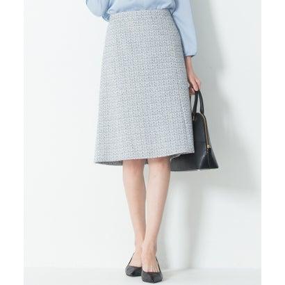 23区(大きいサイズ) 【セットアップ対応】ライトシャインツイード スカート (スカイブルー系)