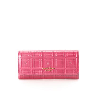 サマンサタバサプチチョイス エナメルチェックシリーズ(かぶせ長財布) マゼンタ