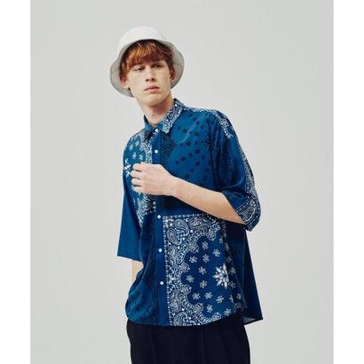 ティーケー タケオ キクチ tk.TAKEO KIKUCHI バンダナ柄切り替えシャツ(6分袖) (ブルー)