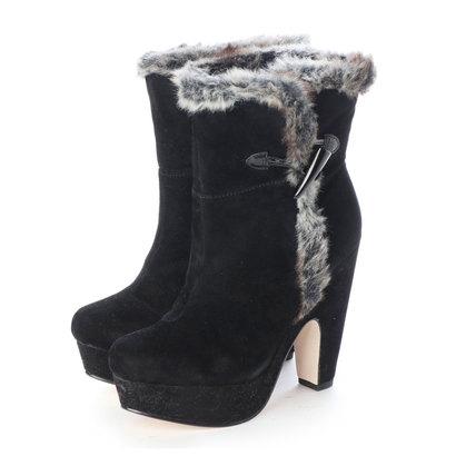 【アウトレット】シューズラウンジ shoes lounge ファー付きショートブーツ (ブラック)6017344 BS