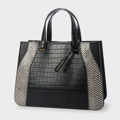 【2020 SUMMER】クロックエフェクト ダブルトップハンドルトートバッグ / Croc-Effect Double Top Handle Tote Bag (Black)