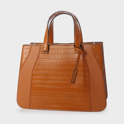 【2020 SUMMER】クロックエフェクト ダブルトップハンドルトートバッグ / Croc-Effect Double Top Handle Tote Bag (Cognac)