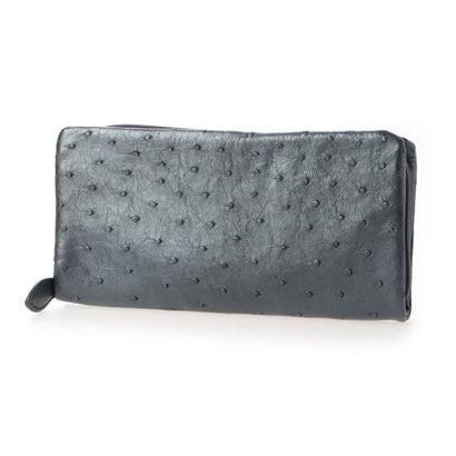 リアマッサ RIAMASA オーストリッチ本革長財布(携帯入れポケット付き) (パールブラック)