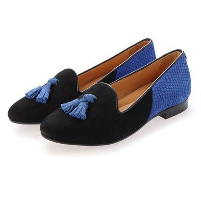 シャテル Chatelles Hercule Tassels (Black suede & royal blue)