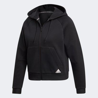 【あす楽】【交換・返品可能】/アディダス/adidas/フィットネス・トレーニング/フィットネス・ヨガウェア/ロコンド/ アディダス adidas フルジップ フーディー (ブラック)