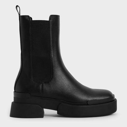 あす楽 交換 蔵 返品可能 チャールズ アンド キース CHARLES KEITH レディースシューズ ブーツ ブーティ プラットフォーム 新作 Black Boots FALL 2021 チェルシーブーツ ロコンド Platform お中元 Chelsea
