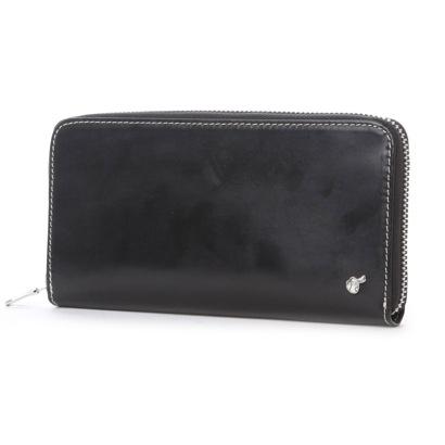 ブリティッシュグリーン BRITISH GREEN ブライドルレザーラウンドファスナー長札財布 (ブラック)