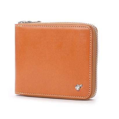 ブリティッシュグリーン BRITISH GREEN ブライドルレザーラウンドファスナー二つ折り財布 (ブラウン)