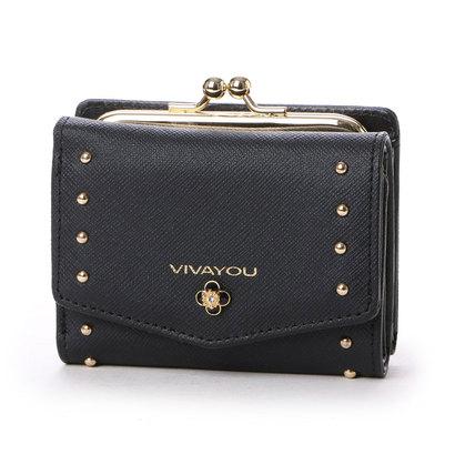 ビバユー VIVAYOU ワンポイントフラワービジュー付き3つ折りがま口財布 (ブラック)