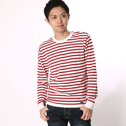 【アウトレット】ゲス GUESS MEN'S BORDER PULLOVER SWEATER (RED)