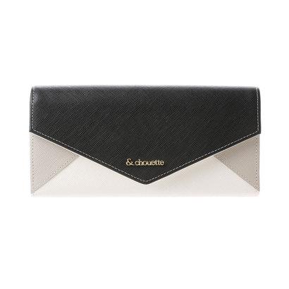 &シュエット レター型かぶせ財布(ブラック)