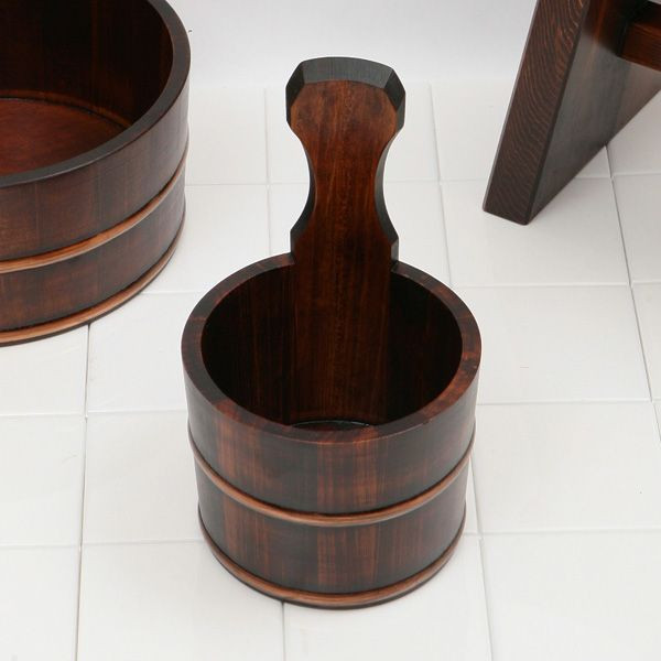 片手汲み桶/木製ひのき片手桶【いをり拭き漆】(手桶/片手桶)【e】