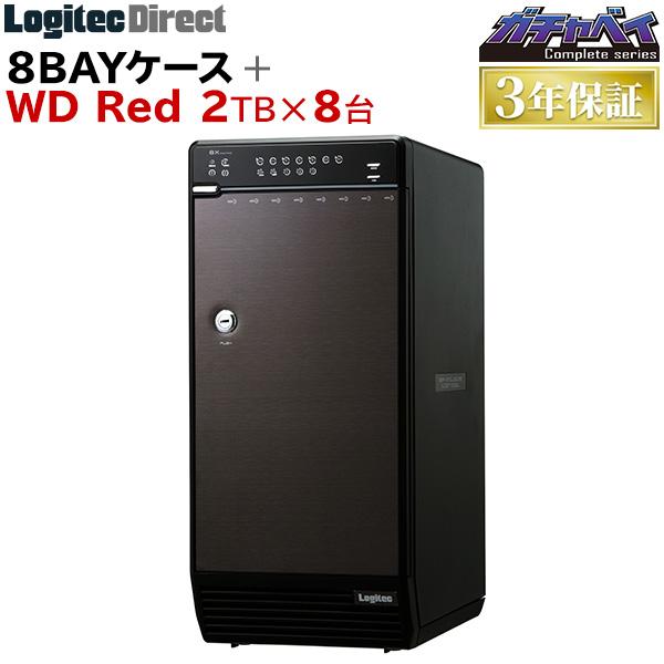 ロジテック 8BAYケース + WD Red 2TB × 8台 大容量ストレージ 公式店限定商品 【LHR-8BRH16EU3WR】