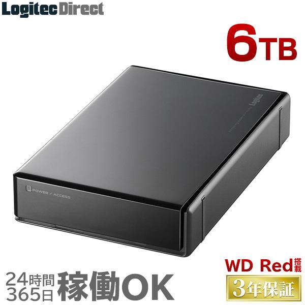 ロジテック WD RED搭載 外付けハードディスク HDD 6TB 3.5インチ USB3.1(Gen1) / USB3.0 3年保証 国産 省エネ静音 【LHD-EN60U3WR】【予約受付中:4/9出荷予定】