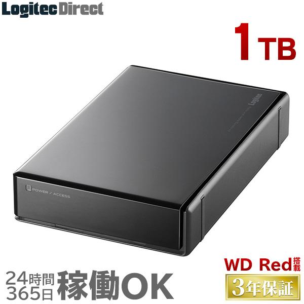 ロジテック WD RED搭載 外付けハードディスク HDD 1TB 3.5インチ USB3.1(Gen1) / USB3.0 3年保証 国産 省エネ静音 【LHD-EN1000U3WR】