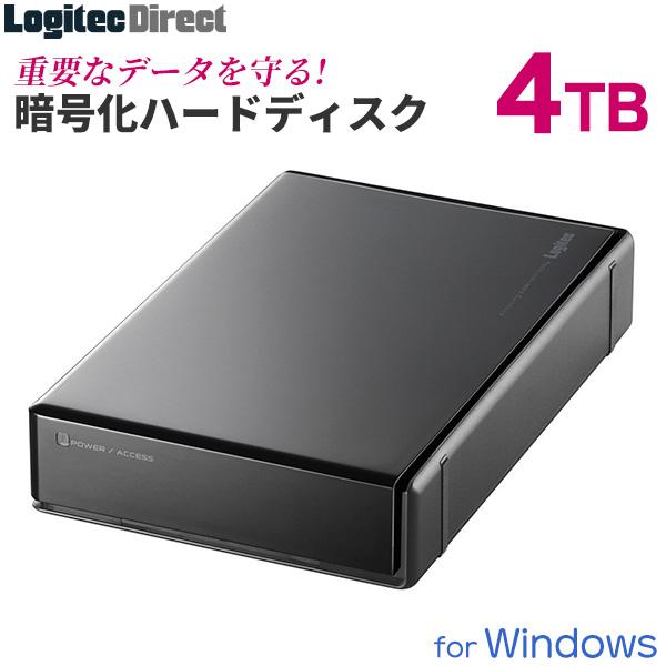 【3/14値下げしました】ロジテック ハードウェア暗号化セキュリティ機能(ASE256bit)搭載 外付けハードディスク HDD 4TB 3.5インチ USB3.1(Gen1) / USB3.0 国産 省エネ静音 【LHD-EN40U3BS】【予約受付中:4/11出荷予定】