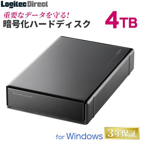 ロジテック ハードウェア暗号化セキュリティ機能(ASE256bit)搭載 WD Red採用 外付けハードディスク HDD 4TB 3.5インチ USB3.1(Gen1) / USB3.0 国産 省エネ静音 【LHD-EN40U3BSR】