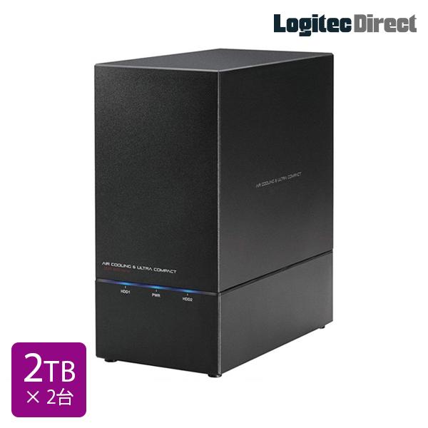 ロジテック RAID対応 外付けハードディスク HDD 4TB(2TB×2台) 2Bay 3.5インチ 国産 【LHD-2BRH40U3】