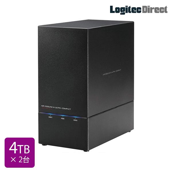ロジテック RAID対応 外付けハードディスク HDD 8TB(4TB×2台) 2Bay 3.5インチ 国産 【LHD-2BRH80U3】