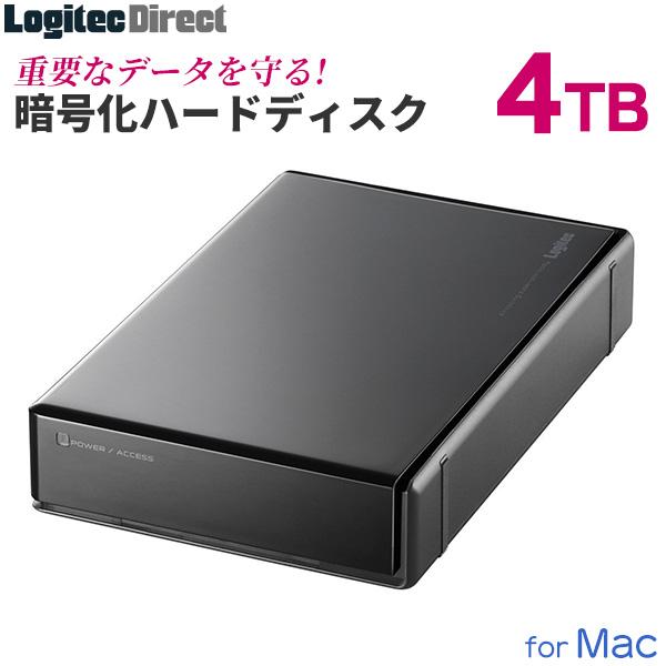 ロジテック ハードウェア暗号化セキュリティ機能(ASE256bit)搭載 外付けハードディスク HDD 4TB Mac用 3.5インチ USB3.1(Gen1) / USB3.0 国産 省エネ静音 WD Blue搭載 【LHD-EN40U3BSM】