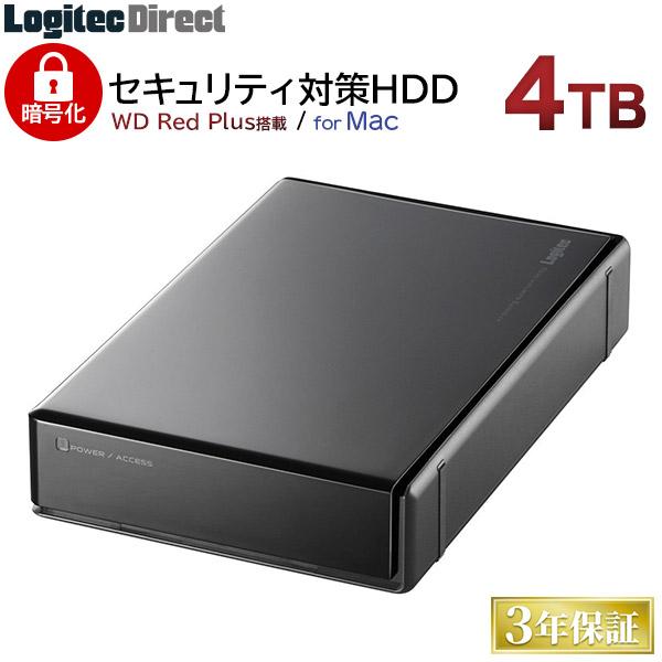ロジテック ハードウェア暗号化セキュリティ機能(ASE256bit)搭載 WD Red採用 外付けハードディスク HDD 4TB Mac用 3.5インチ USB3.1(Gen1) / USB3.0 国産 省エネ静音 【LHD-EN40U3BSMR】