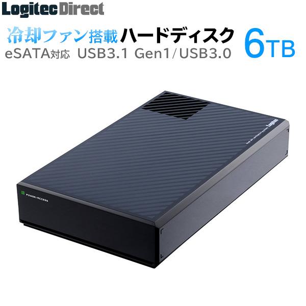 ロジテック ハードディスク HDD 6TB 外付け 3.5インチ 静音ファン搭載 eSATA USB3.1(Gen1) / USB3.0 国産 省エネ静音 【LHD-EG60EU3F】【受注生産】
