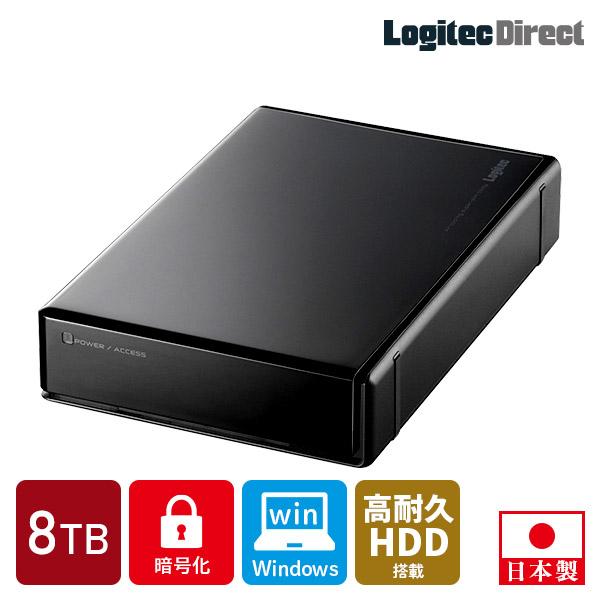 ロジテック セキュリティ対策 WD Red搭載 暗号化ハードディスク 8TB 外付け HDD Windows用 USB3.2 Gen1(USB3.0)【LHD-EN80U3BSR】