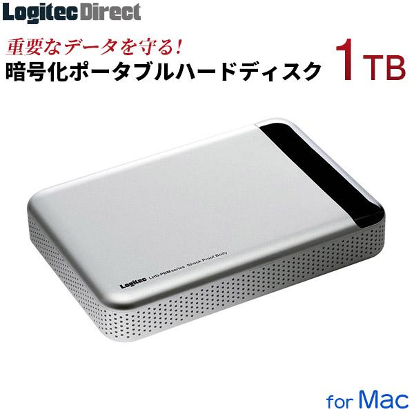 テレワーク リモートワーク Mac専用 USB3.1(Gen1) / USB3.0 耐衝撃ハードウェア暗号化セキュリティポータブルハードディスク(HDD) 1TB ロジテック【LHD-PBM10U3BSM】[公式店限定商品]