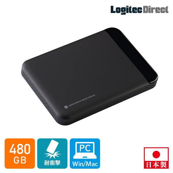 テレワーク リモートワーク 高耐久 外付けSSD ポータブル 480GB USB3.1 Gen1 ロジテック【LMD-PBL480U3BK】