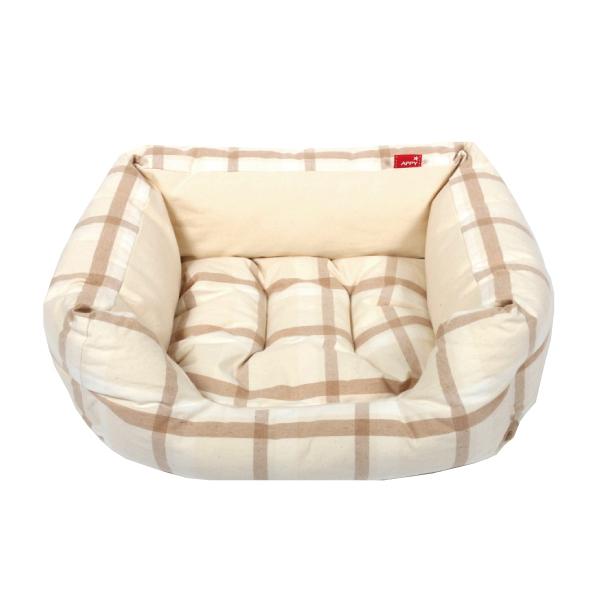 犬用 猫用 期間限定で特別価格 オーガニックコットン APPYDOG 春夏多色チェックスクエア型 ベッド S アウトレットセール 特集 一体型